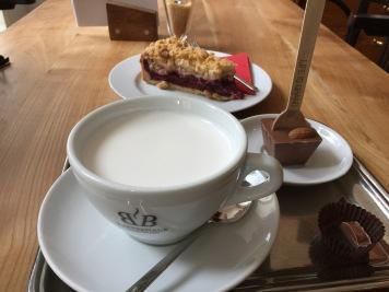 Fancy hazelnut hot chocolate and cherry crumble. Yum!